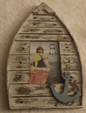 "Nautical Sailboat Picture Frame Wooden Wood Holds 4""x6"" Picture New 14"" x 8.5"""