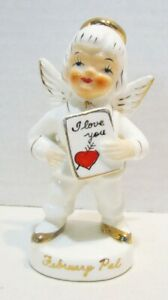 VINTAGE FEBRUARY PAL BOY CERAMIC BIRTHDAY ANGEL FIGURINE # 1600 MADE IN JAPAN