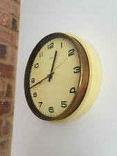 Retro METAMEC Wall Clock in Pastel Yellow and Brass 70's Kitchen Styling