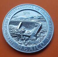 MEXICO 1976 SILVER MEDAL XII CONGRESO INTERNACIONAL DE PRESAS medalla 1,40 ONZAS
