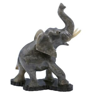 """Unique Hand Carved Gray Marble Stone Elephant Figurine Carving 5.25"""" High"""
