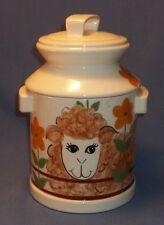 LAMB  ON A  MILK CANTEEN.  COOKIE JAR.  DATED 1982  NICE COUNTRY LOOK!