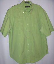 Lyle & Scott Mens Shirt L Green Plaid Button Down Short Sleeves Made in Scotland