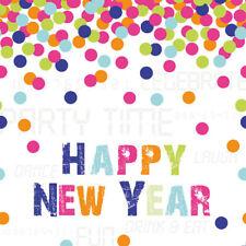 20 3 Ply HAPPY NEW YEAR NAPKINS PARTY TIME CONFETTI DESIGN MULTI COLOURED