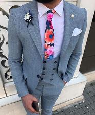 Diseñador negocios azul a Cuadros Rayas Traje Chaqueta Pantalón Chaleco