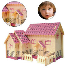3D Sand Paper Puzzle Wooden DIY Gift House Illustration collection for Children