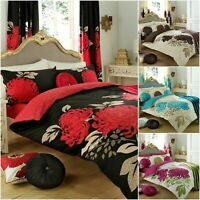 Kew Floral Reversible Duvet Cover With Pillow Cases Bedding Set in All Sizes