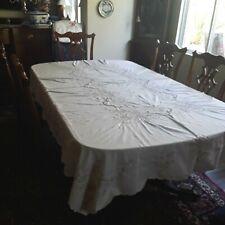 "Vintage ecru beige Linen Embroidered Cutwork Tablecloth  98 "" X 68 "" Beautiful"