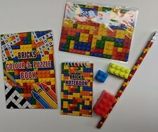 Lego Brick Eraser Pencil puzzle book Jigsaw  Notebook 7 items Party Bags