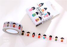 Japanese Doll Nihon Ningyo 1.5cm X 10m Washi Tape DIY Scrapbook Album Diary