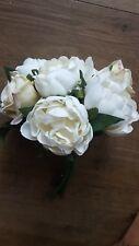Artificial Silk Peony and Rose Flower Bouquet White & Cream Wedding Flowergirls