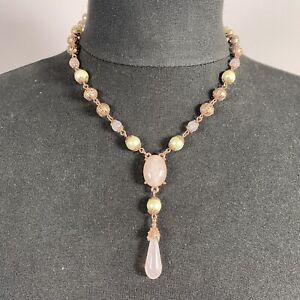 2028 Rose Quartz Pendant Necklace Gold Tone Chain Collar Length Vintage Look