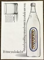 1989 Saratoga Mineral Water PRINT AD Whole New Way Bubbles Make a Big Difference
