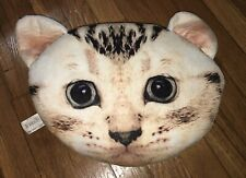 Girls Cute Cat Faux Suede Head Shape Real Kitty Face PILLOW Fun Adorable 14x10
