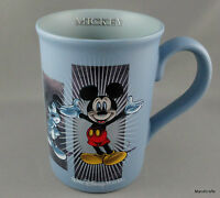 Coffee Mug Mickey Mouse Poses Disney World Parks Slate Blue Matte Ceramic 10oz