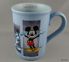 Coffee Mug Mickey Mouse Poses Disney World Parks Slate Blue Matte Ceramic 10oz