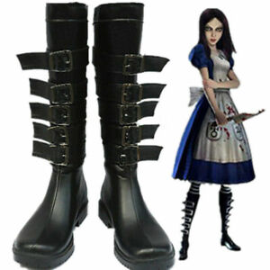 Alice Madness Returns Anime Costume Cosplay Black PU Boots Shoes @