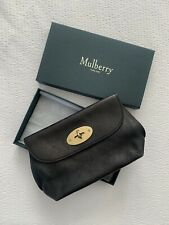 Genuine Mulberry Black Leather Makeup Pouch - Great Condition With Box