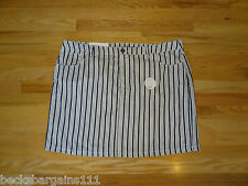 New Croft & Barrow Womens Skort Skirt w/Shorts Blue Striped 22W Cotton NWT $40