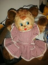 "Vintage rubber face plush brown bear with dress 16"" rushton??"