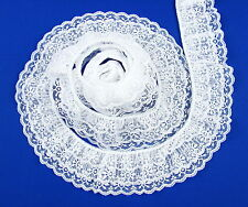 White~TRIPLE Ruffle 2 1/2 Inch Candlewick Lace Trim~By 5 Yards