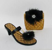 JC Penney FUR Black Marabou Post Gold PUMP HIGH HEEL SANDAL SHOE PURSE Ornaments