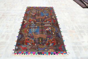 B3095 Handmade Afghan Tribal Baluchi Pictorial Wool Decor Rug 3'6 x 7'2