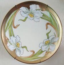 Vintage Tirschenreuth Bavarian Porcelain Hand Painted Plate gold w/ white roses