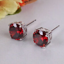 18ct white gold filled garnet Ruby coloured stud simulated diamond earrings Red