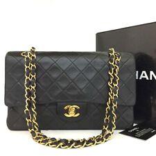 Chanel Doble Tapa de 25 CC con logotipo en piel de cordero acolchado con cadena de hombro Bolso Negro/114EC