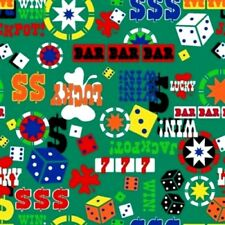Poker Chips Gambling Slot Machine Casino Games Green Cotton Fabric by the Yard