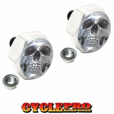 2 Silver Hex Billet License Plate Frame Tag Bolts for Harley - CHROME SKULL S1