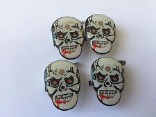 4 LED de luces de destello brillante Broche Pin insignia de calavera fantasma Halloween &