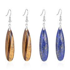 Natural Quartz Crystal Waterdrop Faceted Beads Dangle Hook Women Stone Earrings