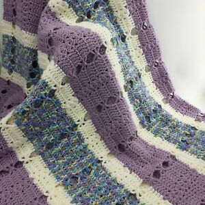 Knitted Blanket Throw 68 In x 50 In Heavy Cotton Purple Multicolor Handmade