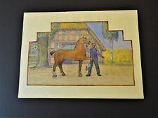 """Orig. Zeichnung  Wilhelm Morisse  Wesermarsch  """"Bauer mit Pferd vor dem Stall"""""""