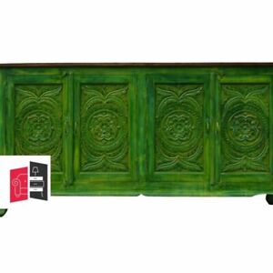 Bleached Indian Hand Carved Wooden Large Buffet Sideboard Green (MADE TO ORDER)