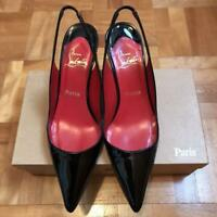 Christian Louboutin Black Patent Sling Back Heel pumps Insole Red Size 38.5