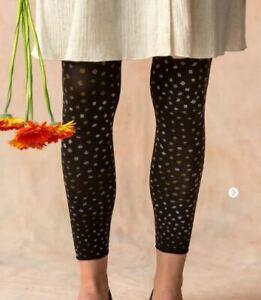 BNWT *Gudrun Sjoden* Confetti black polka dot recycled fibre footless tights L