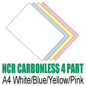 250 sets x A4 Carbonless NCR Duplicate Print Paper - White Blue Yellow Pink