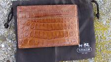 NEW COACH Exotics slim card case $398 leather saddle 74265 gift bag gator croc