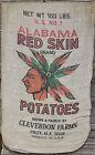 Vintage 100lb Burlap Potato Sack - Original 1930's Design - Mint