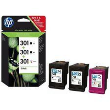 Genuine HP 301 X 2 Negro y Color Tinta carros E5Y87EE 3 Pack DeskJet 1050 AiO
