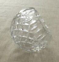 Cut Crystal Glass Rose Flower Bud Bowl Vase Angled Top Sugar Sphere Ashtray Dish