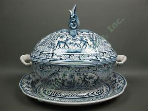 "Vintage Coimbra 11.5"" Soup Tureen Platter Set Hand Painted Deer Pottery Portugal"