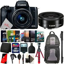 Canon EOS M50 Mirrorless Camera Black with 15-45mm + EF-M 22mm Lens 32GB Kit