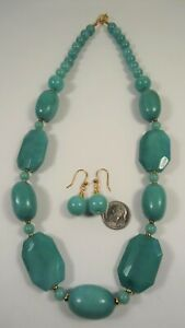 Lee Sands Chunky Faceted Quartzite Necklace and Earring set
