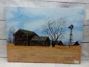 """Forgotten Fields by Billy Jacobs, Canvas picture, 12""""x16"""", Windmill, Farm, Barns"""