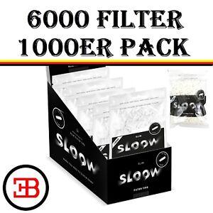 6 x 1000 Stück SLOOW Slim Filter 6mm Eindrehfilter Drehfilter Zigarettenfilter