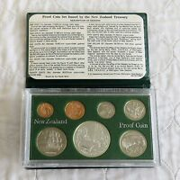 NEW ZEALAND 1980 7 COIN PROOF YEAR SET WITH SILVER FANTAIL DOLLAR - complete